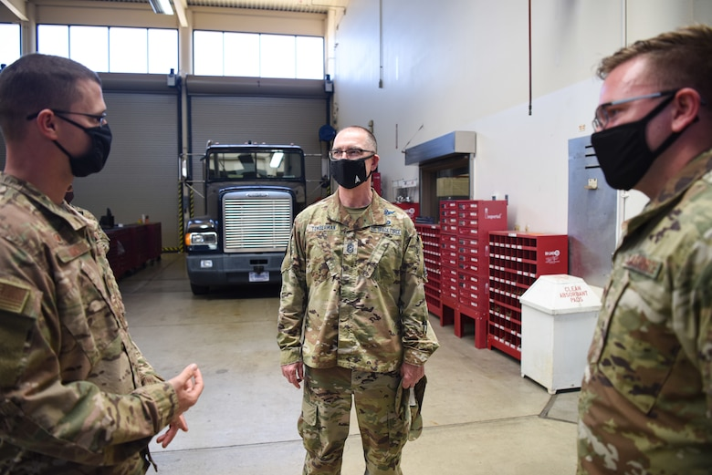 Chief Master Sgt. Roger A. Towberman, U.S. Space Force senior enlisted advisor, is briefed by Airmen assigned to the 30th Logistics Readiness Squadron Sept. 23, 2020, at Vandenberg Air Force Base, Calif. Towberman was briefed on current operations, how each of their jobs contribute to the mission and about their journey transitioning from the U.S. Air Force to the U.S. Space Force. (U.S. Space Force photo by Senior Airman Hanah Abercrombie)