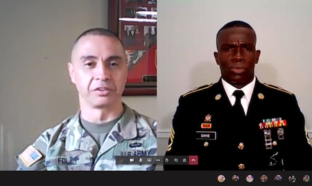 screenshot of male soldiers on a video chat.