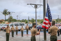 U.S. Marines assigned to Marine Corps Base (MCB) Camp Blaz conduct the first flag raising of the new command, marking the initial operation capability of the base in Dededo, Guam, Oct. 1, 2020. MCB Camp Blaz is the first Marine Corps base activated since the commissioning of Marine Corps Logistics Base Albany, Georgia on March 1, 1952.