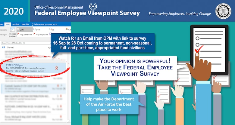 The Federal Employee Viewpoint Survey will be available for Air Force civilian employees starting mid-September. (U.S. Air Force courtesy graphic)