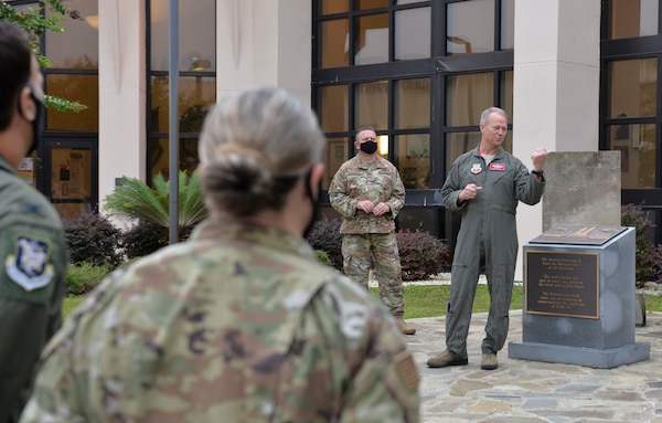 U.S. Air Force Gen. Mark Kelly, commander of Air Combat Command, speaks to members of the 601st Air Operation Center during a visit to Tyndall Air Force Base, Florida, Sept. 29, 2020.