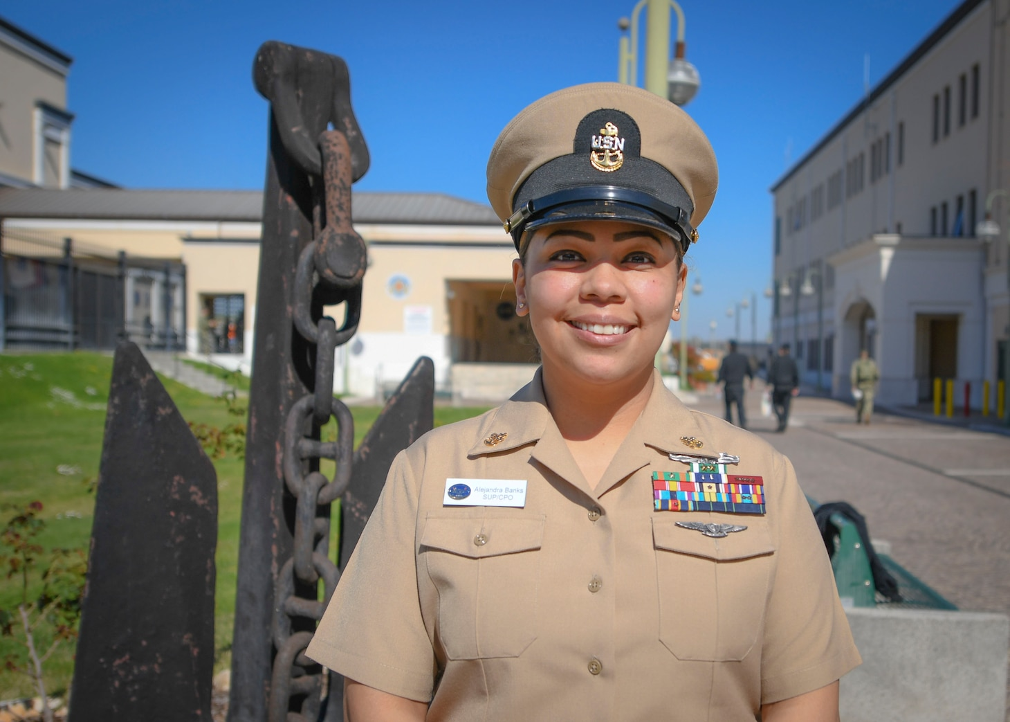 Chief Logistics Specialist Alejandra Banks, assigned to USS Mount Whitney (LCC 20), poses for a portrait on Naval Support Activity, Naples, Mar. 31, 2021, in celebration of the 128th birthday of the Chief Petty Officer ranks.