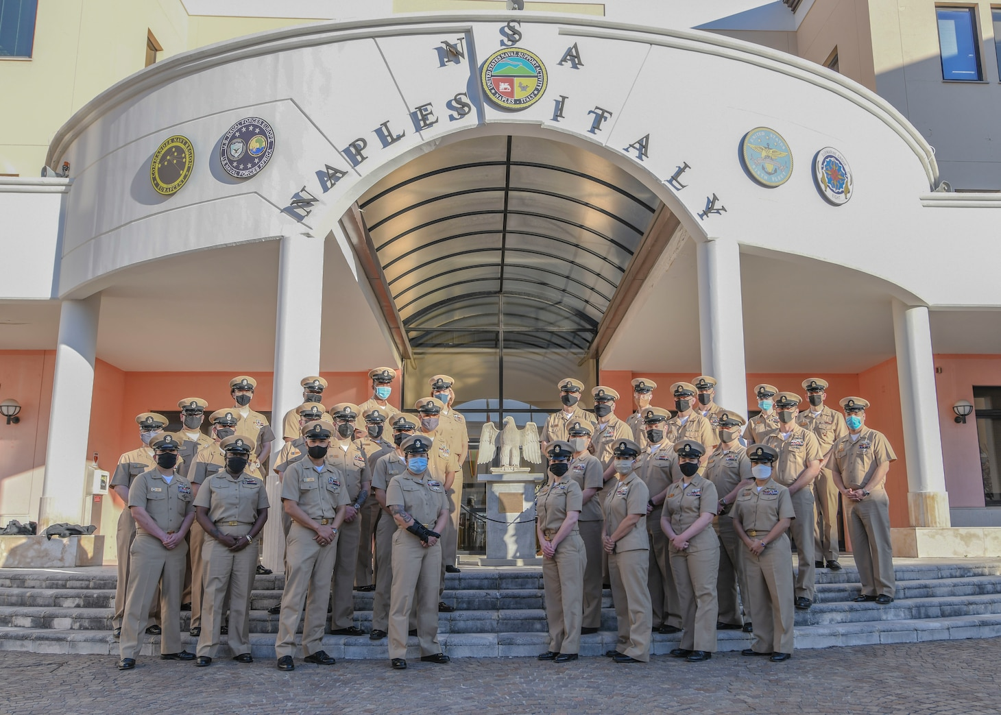 Chief Petty Officers pose for a photo on Naval Support Activity, Naples, Mar. 31, 2021, during a celebration of the 128th birthday of the Chief Petty Officer ranks.