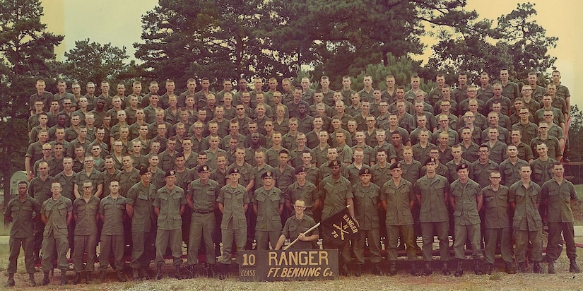 Dave Kalita attended Ranger School in 1974 as an Army cadet between his junior and senior years of college. Now, almost 47 years later, he will retire as the director of the 405th Army Field Support Brigade's Logistics Readiness Center-Benelux. Pictured here is Cadet Kalita's Ranger School class. He is standing in the 4th row, 7th person from the left. (U.S. Army courtesy photo)