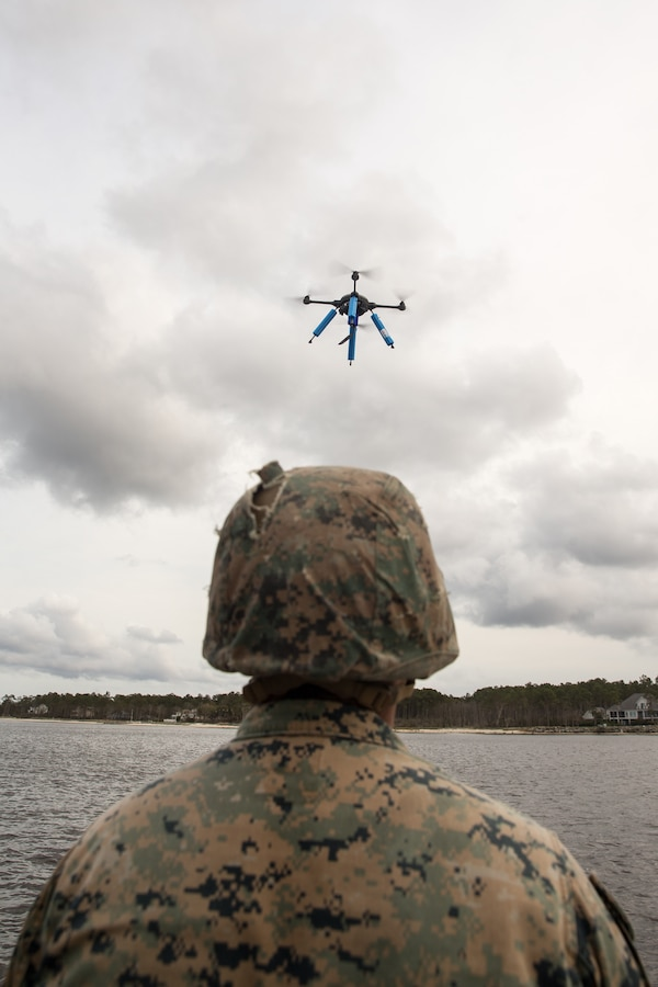 U.S. Marine Corps Cpl. Jose Sanchez, a Reedley, Calif., native and rifleman with 2nd Light Armored Reconnaissance Battalion, 2d Marine Division, prepares to retrieve a Sky Raider Drone during a joint-service training exercise on Marine Corps Air Station Cherry Point, N.C., March 26, 2021.