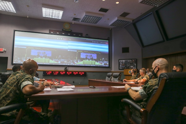 U.S. Marines and Department of Defense contractors discuss logistics operations with their Royal Thai Marine Corps counterparts during a video-teleconference on Camp H.M. Smith, Hawaii, March 25.
