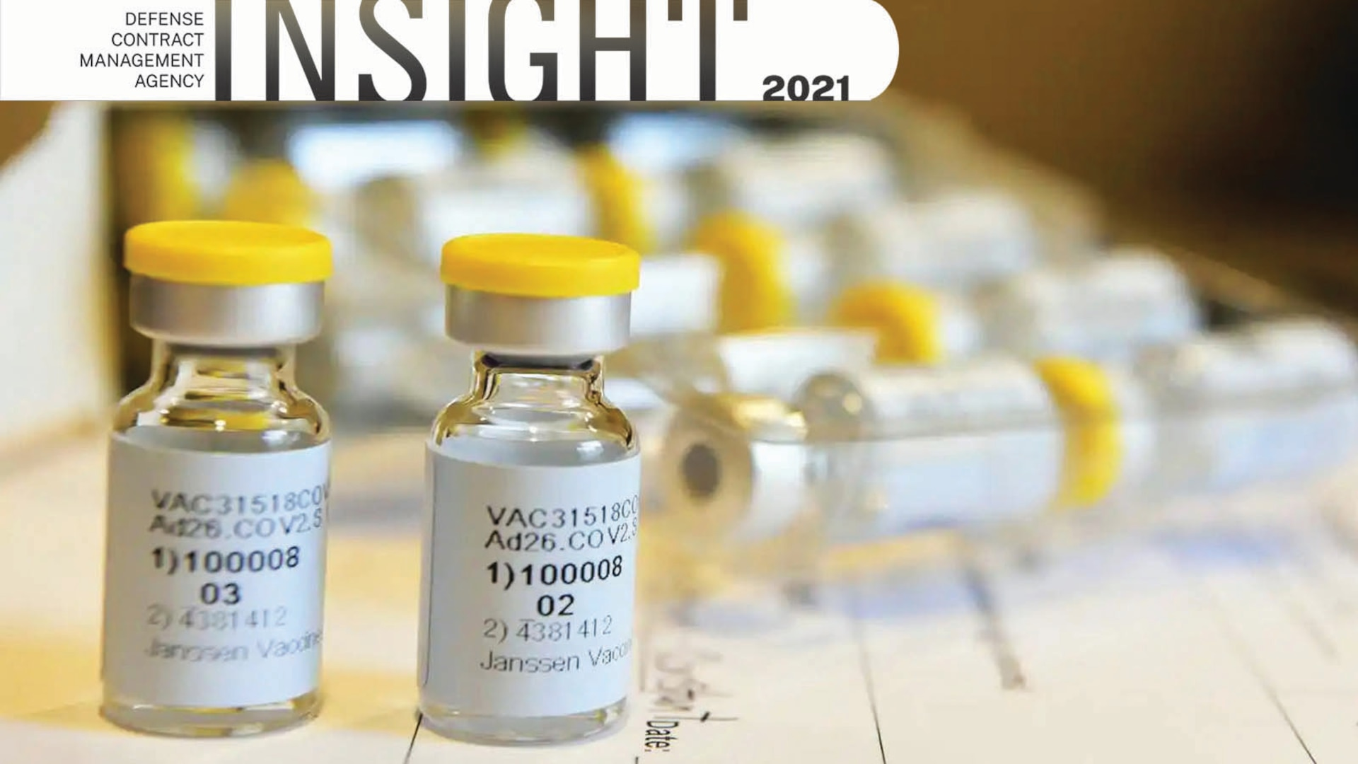 Close-up picture of COVID-19 vaccine vials.