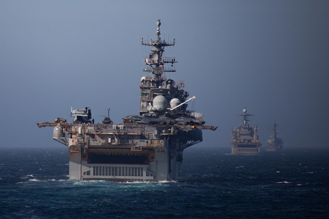 U.S. Navy ships simulate a strait transit during Composite Unit Training exercise off the Atlantic coast on March 1.