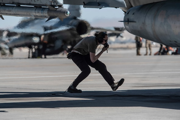 Photo of a crew chief at Red Flag 21-2 at Nellis Air Force Base