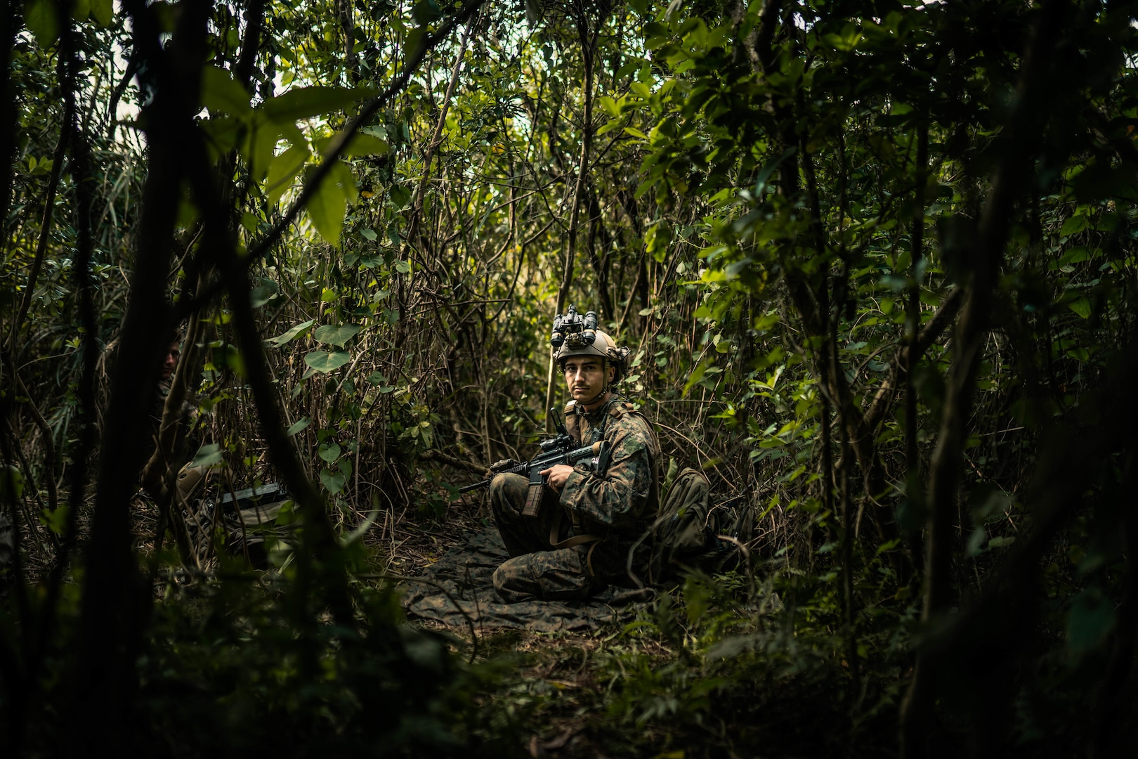 A U.S. Marine sets security at a patrol base during Castaway 21.1 on Ie Shima, Okinawa, Japan, March 10.