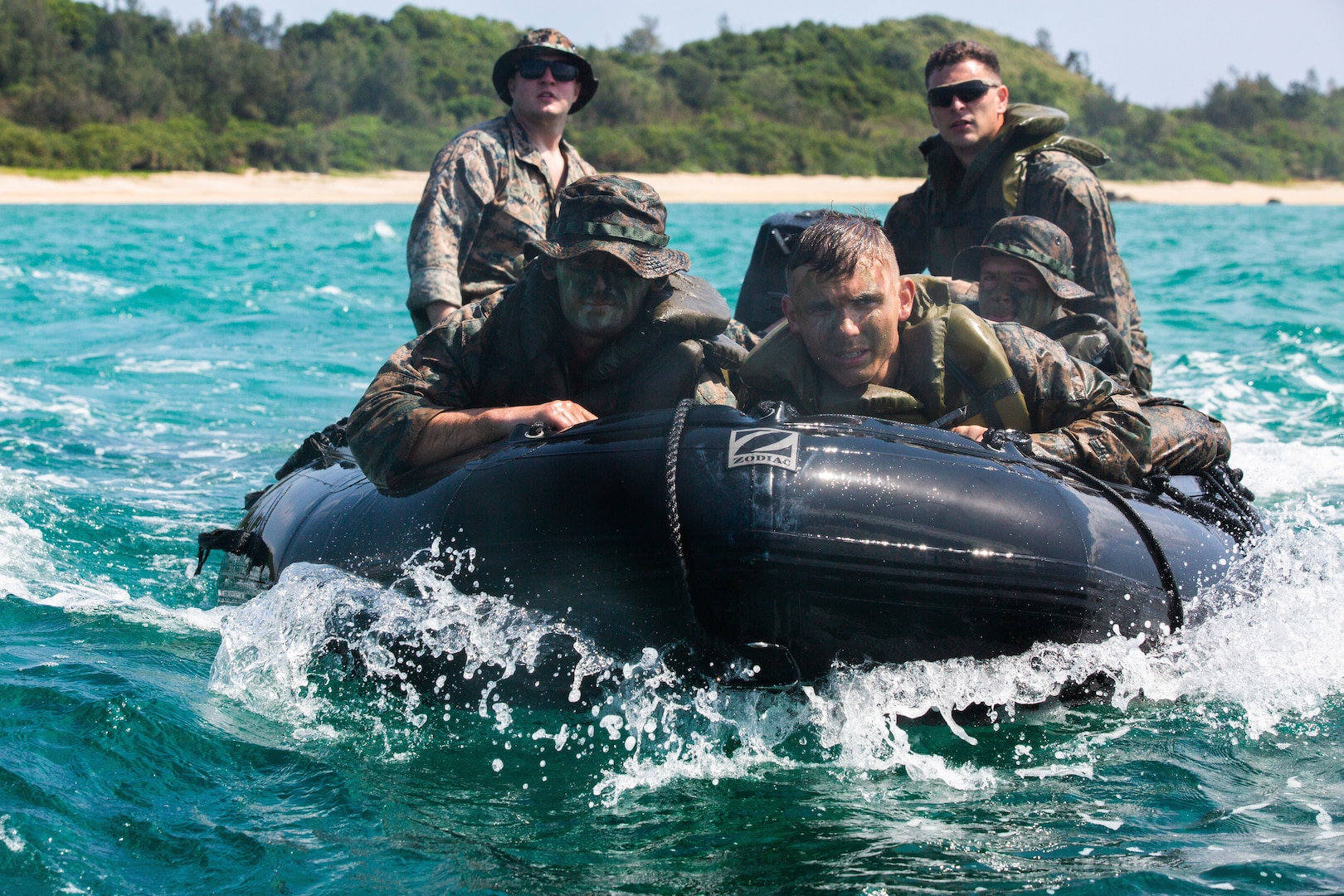 U.S. Marines conduct experimentation in littoral defense operations during Castaway 21.1 around Okinawa, Japan, March 18.