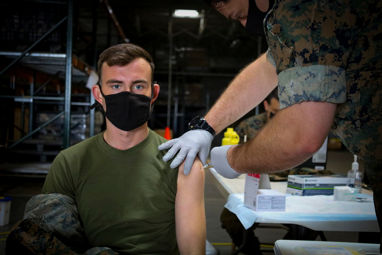 Marines and Sailors continue to receive the COVID-19 vaccine on Marine Corps Air Station Miramar, March 25.
