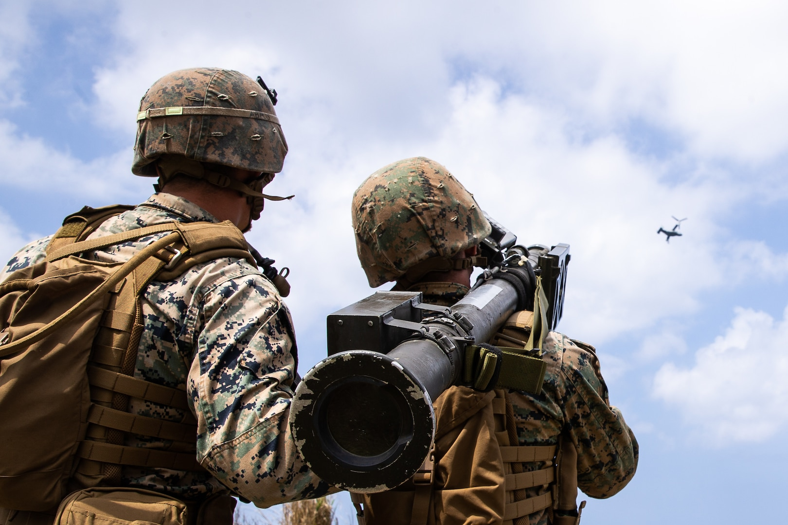 U.S. Marines provide surface-to-air defense using the FIM-92 Stinger during Castaway 21.1 on Ie Shima, Okinawa, Japan, March 16.