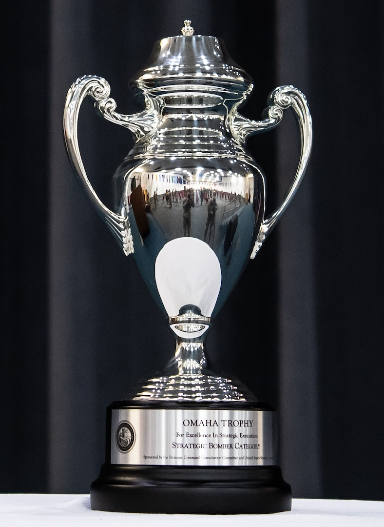 The Omaha Trophy sits at Barksdale Air Force Base, Louisiana, March 30, 2021. The Omaha Trophy was presented to the 96th Bomb Squadron for their support of U.S. Strategic Command's mission of global strategic deterrence. (U.S. Air Force photo by Airman 1st Class Jacob B. Wrightsman)