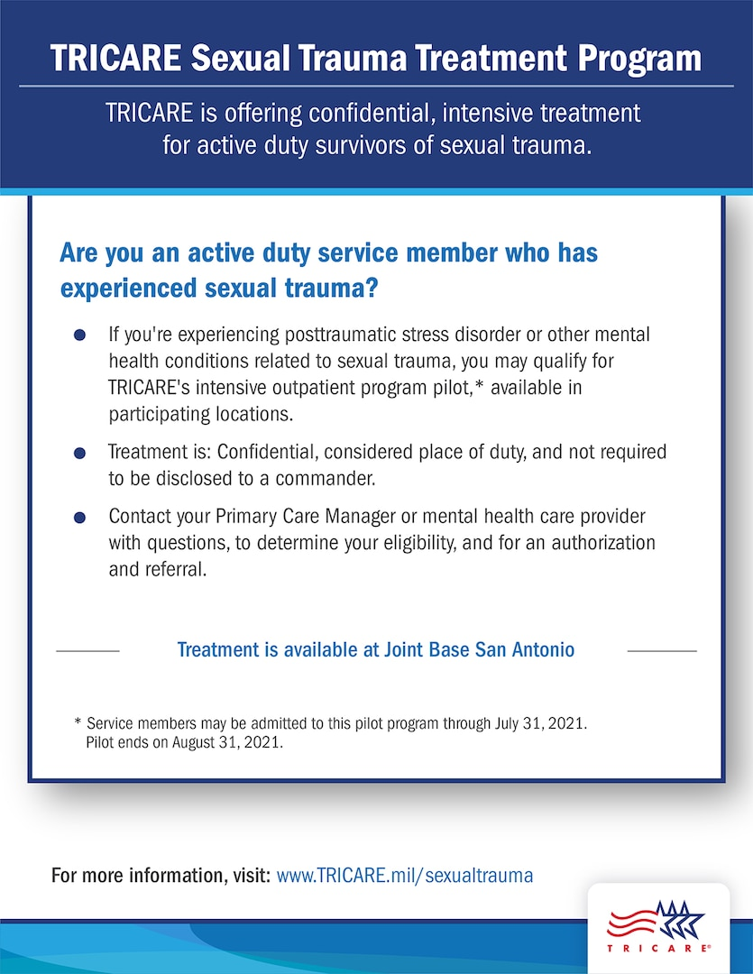 For more information about the Sexual Assault Intensive Outpatient Program or the pilot study, contact the Psychological Health Intensive Outpatient Program patient care coordinator at 210-539-1066.