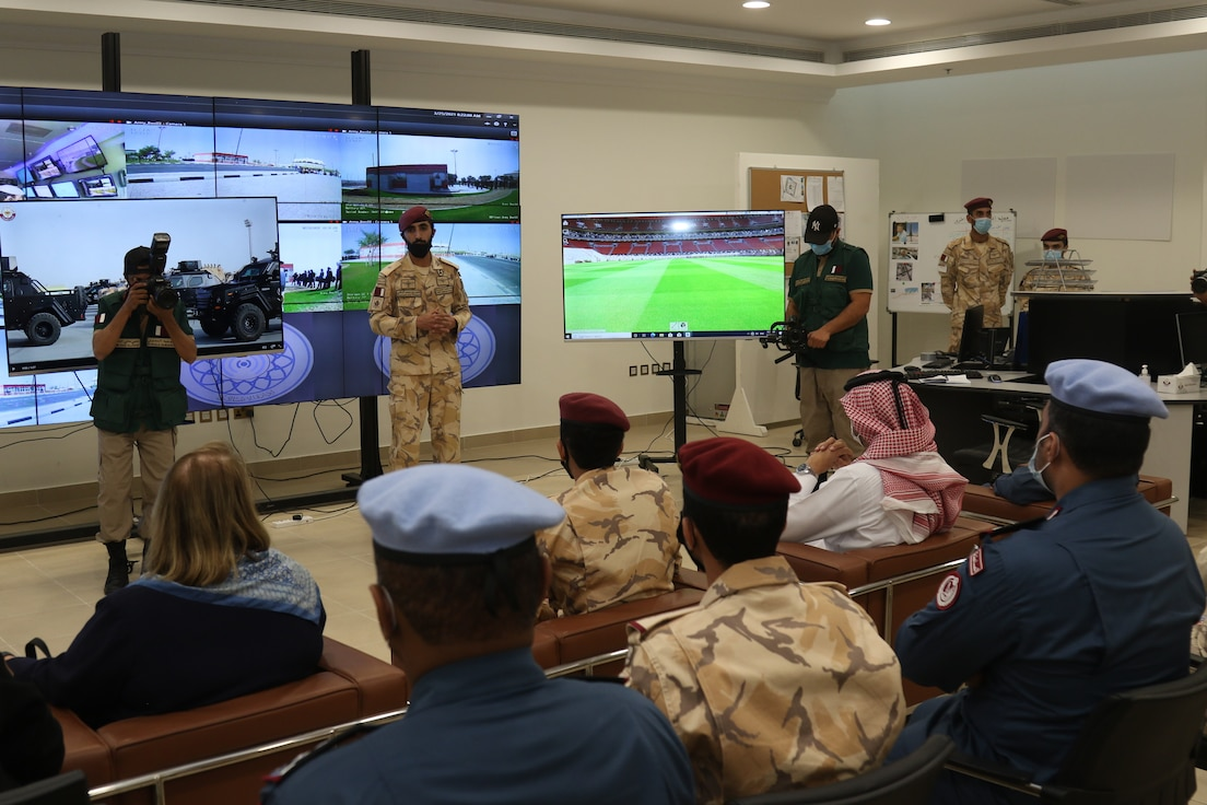 Maj. Gen. Al Sheikh Abdulaziz bin Faisal Al-Thani, Qatari Internal Security Forces commander, and Greta C. Holtz, the Chargé d'Affaires U.S. Embassy in Qatar, receive a brief on the events and conclusion of exercise Invincible Sentry, March25, 2021, at the Qatari Joint Special Forces Compound near Doha, Qatar. The U.S. Central Command's annual bilateral exercise is a vital opportunity to improve operational effectiveness when working in unfamiliar environments and enhance interoperability between the U.S. and Qatar. (U.S. Army photo by Staff Sgt. Daryl Bradford, Task Force Spartan Public Affairs)