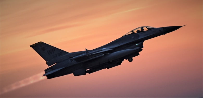 Wolf Pack F-16s take off at dawn
