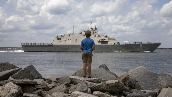The Freedom-variant littoral combat ship USS Sioux City (LCS 11) departs Naval Station Mayport. Sioux City is operating in the U.S. 2nd Fleet in support of naval operations to maintain stability and security in the Atlantic and Arctic in order to ensure access, deter aggression and defend U.S., allied and partner interests.