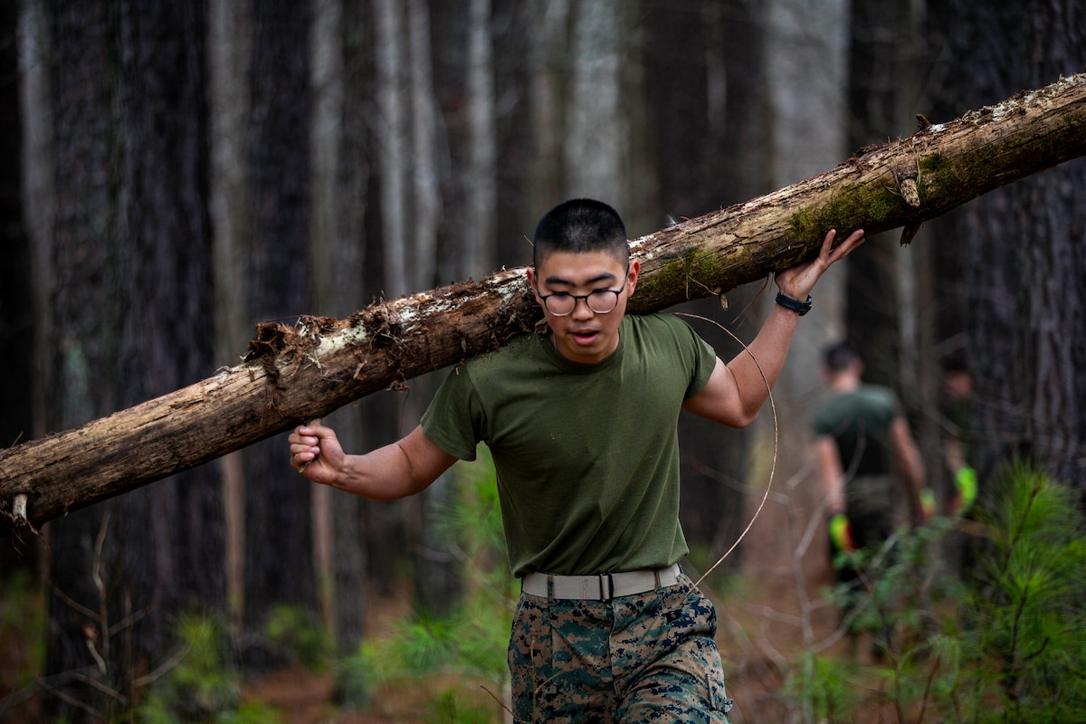 A Marine carries a log on his back while walking through a forest.