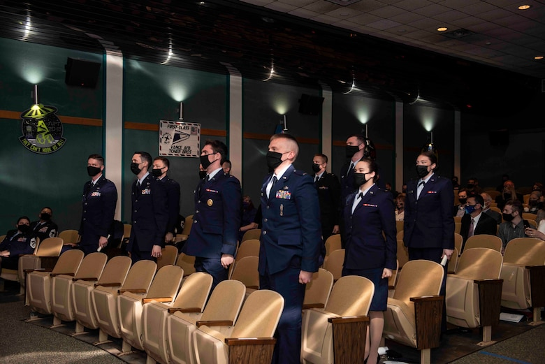 Student pilots here hit yet another milestone April 2 as the first 17 Undergraduate Pilot Training 2.5 graduates crossed the stage and received their wings.