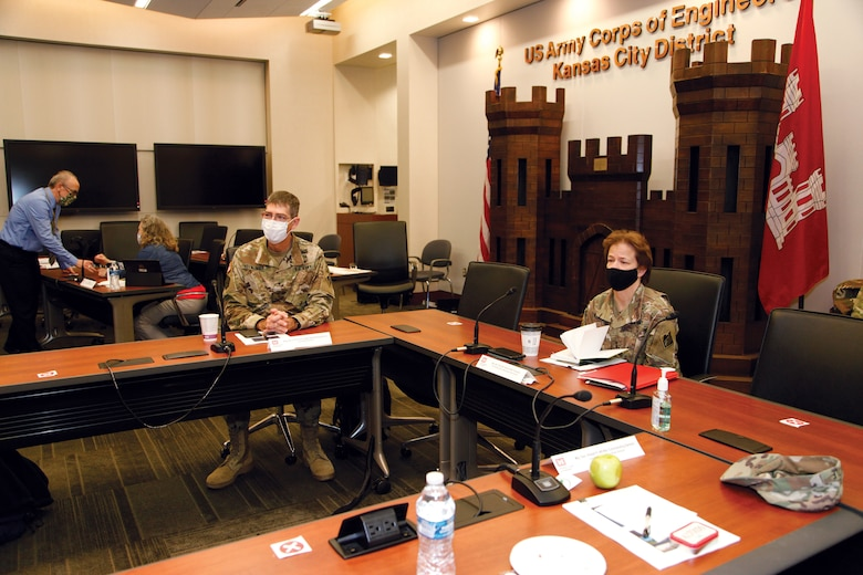 Maj. Gen. Diana M. Holland, president, Mississippi River Commission and Brig. Gen. D. Peter Hemlinger, commander, U.S. Army Corps of Engineers, Northwestern Division attend a briefing regarding the Mississippi River Commission visit to the Missouri River, March 31, 2021.
