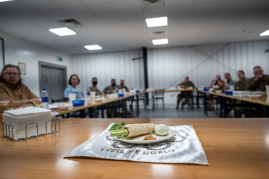 A Seder plate is set out for display to establish the commencement of Passover at Al Dhafra Air Base, United Arab Emirates, March 31, 2021.