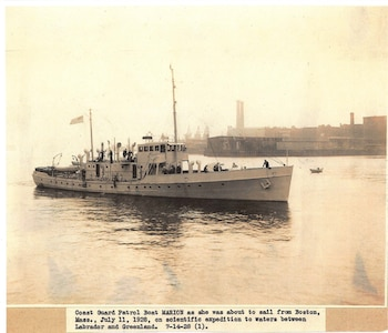 Coast Guard Patrol Boat MARION as she was about to sail from Boston, Mass., July 11, 1928, on scientific expedition to waters between Labrador and Greenland.