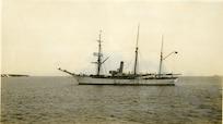 USRC Bear at anchor in July, 1908 off Alaska.