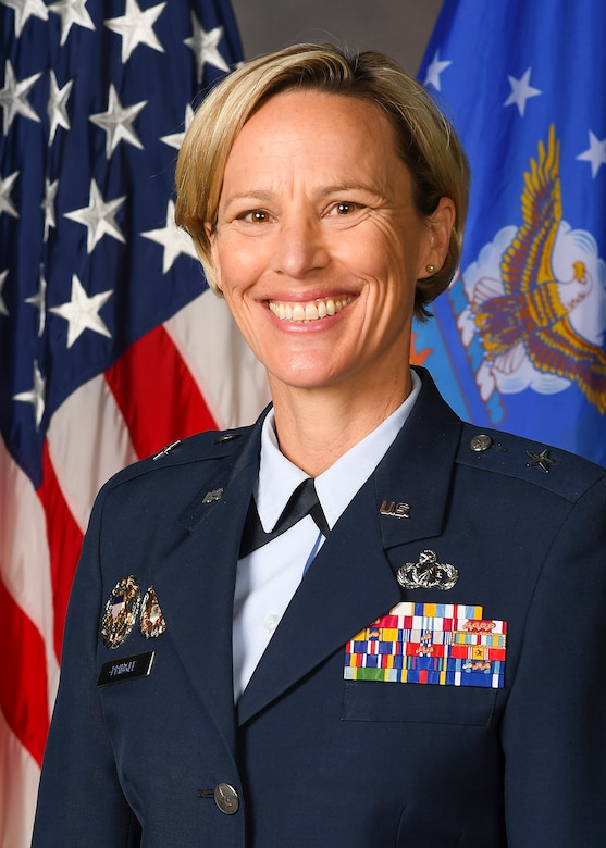 Air Force Research Laboratory Commander Brig. Gen. Heather Pringle provided a rare glimpse into the path she has blazed as a leader, woman and mother during a 30-year career in the Air Force. (U.S. Air Force photo)