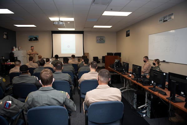 CORPUS CHRISTI, Texas (Oct. 30, 2020) The first students enrolled in Naval Aviation Training Next-Project Avenger are welcomed by Chief of Naval Air Training Rear Adm. Robert Westendorff. Project Avenger is a prototype syllabus designed to train student naval aviators to a greater level of proficiency in a shorter period of time than the traditional syllabus to increase fleet aviator availability. (U.S. Navy photo by Anne Owens/Released)