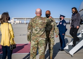 Maj. Gen. Christopher Azzano, Air Force Test Center Commander, welcomes Air Force Chief of Staff Gen. Charles Q. Brown, Jr., to Edwards Air Force Base, California, March 30. (Air Force photo by Giancarlo Casem)