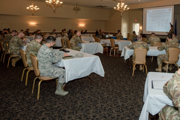 Team Seymour commanders and first sergeants attend the annual Mental Health Symposium at Seymour Johnson Air Force Base, North Carolina, March 31, 2021.