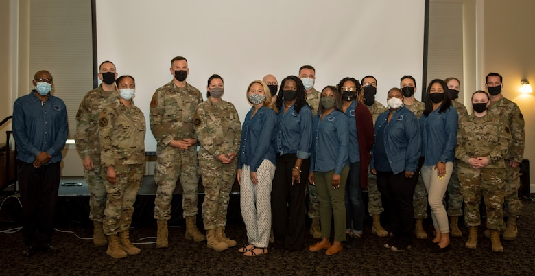 Members of Team Seymour gather during the annual Mental Health Symposium at Seymour Johnson Air Force Base, North Carolina, March 31, 2021.