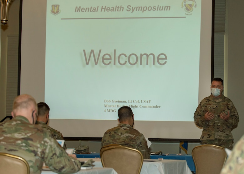 Lt. Col. Robert D. Greiman Jr., 4th Medical Group mental health flight commander, welcomes participants to the annual Mental Health Symposium at Seymour Johnson Air Force Base, North Carolina, March 31, 2021.