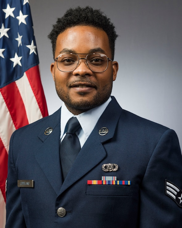 Official Photo of Ja'Von Copeland, Percussionist with the Heritage of America Band at Langley AF Base, Virginia. SrA Copeland performs with Rhythm in Blue, one of the six ensembles in the band.
