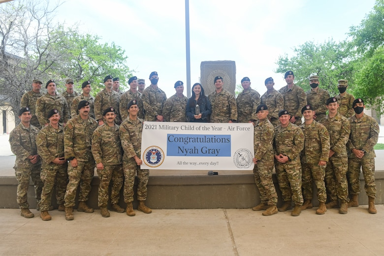 "The 353rd Training Squadron, Special Warfare Training Wing, honored Nyah Gray, the 2021 Military Child of the Year® for the Air Force, during an Air Force Tactical Air Control Party, TACP, ""Final Formation"" ceremony at Joint Base San Antonio-Chapman Training Annex, Texas Apr. 2, 2021."