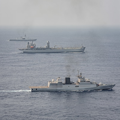 BAY OF BENGAL (April 5, 2021) Ships operate in the Bay of Bengal in support of exercise La Perouse 2021, April 5. La Perouse consists of naval assets from Australia, France, India, Japan and the United States. La Perouse is an exercise conducted during the annual French Navy midshipman deployment called Mission Jeanne d'Arc. The exercise is designed to conduct training, enhance cooperation in  maritime surveillance, maritime interdiction operations, and air operations. As the U.S. Navy's largest forward-deployed fleet, 7th Fleet employs 50-70 ships and submarines across the Western Pacific and Indian oceans. U.S. 7th Fleet routinely operates and interacts with 35 maritime nations while conducting missions to preserve and protect a free and open Indo-Pacific Region. (Photo courtesy asset by French Navy/Released)