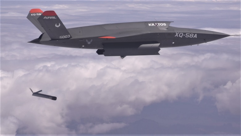 The XQ-58A Valkyrie demonstrates the separation of the ALTIUS-600 small UAS in a test at the U.S. Army Yuma Proving Ground test range, Arizona on March 26, 2021. This test was the first time the weapons bay doors have been opened in flight. (Courtesy photo)