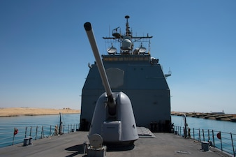 USS Philippine Sea (CG 58) transits the Suez Canal.