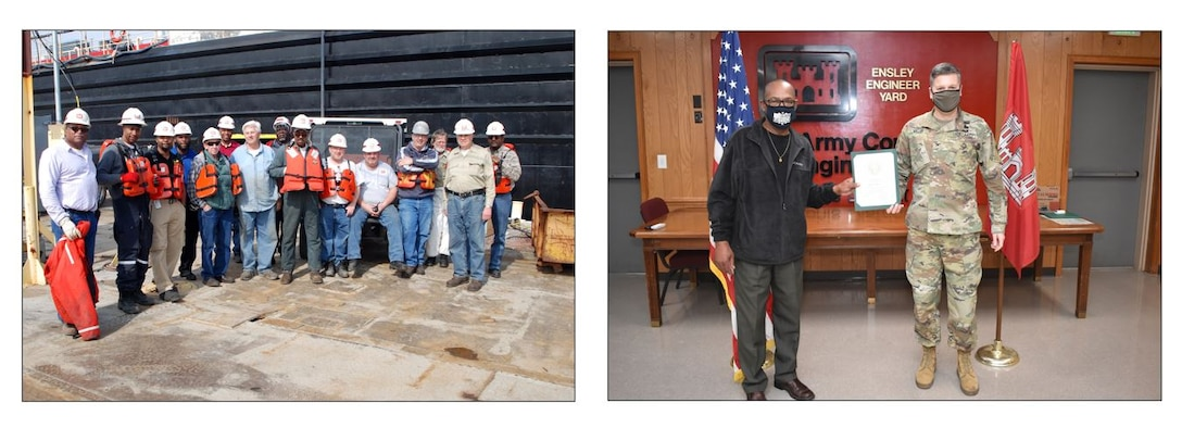 (left photo) Heavy Mobile Equipment Mechanic Leader Robert Woods (center) and crew prepares for a safety meeting preceding the undocking of Revetment Mooring Barge 7401. (USACE photo by Brenda Beasley) (right photo) Memphis District Commander Col. Zachary Miller presents Heavy Mobile Equipment Mechanic Leader Robert Woods (left) with a service award on his 40 year anniversary. Congratulations again to Mr. Robert Woods, and many thanks for your dedicated service to the Memphis District, the Mississippi Valley Division, and the U.S. Army Corps of Engineers.