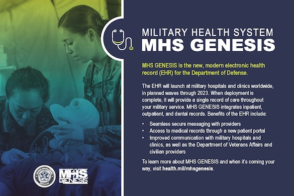 MHS GENESIS is the new electronic health record (EHR) for the Military Health System. It is the single, continuous record of care that will support the provision and coordination of care for 9.5 million TRICARE (i.e., service members, retirees, and family members) beneficiaries worldwide. Full deployment of MHS GENESIS, in all military hospitals and clinics, is expected to be complete by 2023.