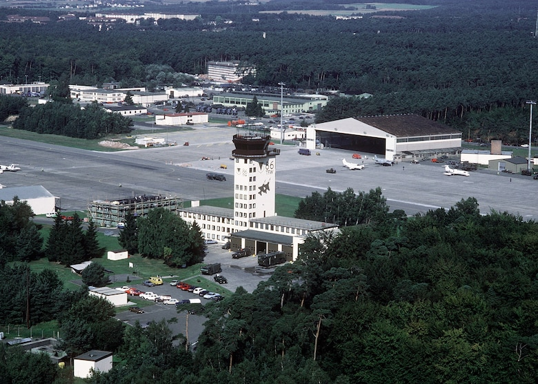 Aerial photograph of the airfield at Ramstein Air Base, Germany, ca. mid-1980s.