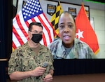 Naval Undersea Warfare Center Division Newport's Commanding Officer Capt. Chad Hennings (from left) introduces Brig. Gen. Janeen Birckhead, commander of the Maryland Army National Guard, who spoke about women's equality, strength and resiliency during a livestream event celebrating Women's History Month held on March.