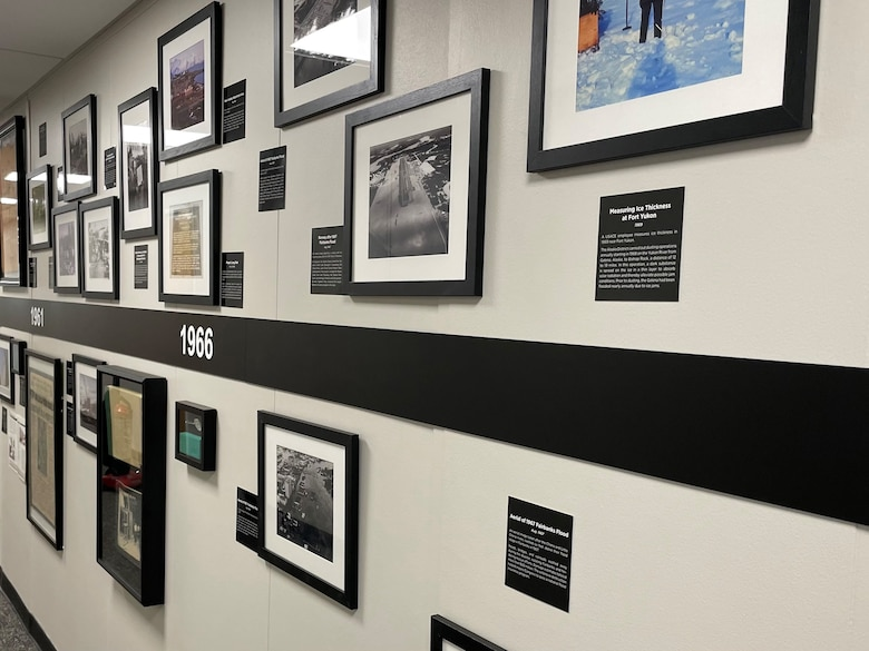The timeline installed in the headquarters building that calls attention to the U.S. Army Corps of Engineers – Alaska District's 75th anniversary.