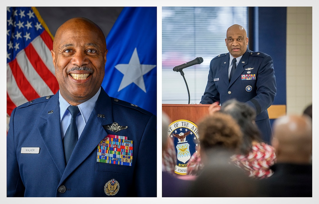 U.S. Air Force Brig. Gen. Christopher 'Mookie' Walker, left, special assistant to the Air National Guard director on diversity and inclusion, and Brig. Gen. Charles 'Chuck' Walker, right, director, Office of Complex Investigations, National Guard Bureau, both volunteered to be speed mentors during the virtual 2021 Black Engineer of the Year Awards (BEYA) Science, Technology, Engineering, and Mathematics (STEM) Conference Feb. 12, 2021. The BEYA STEM Conference brings together K-12 and college students from across the nation to learn about STEM career opportunities and network with private industry experts, government leaders, and military professionals. (Photo illustration by Tech. Sgt. Morgan R. Whitehouse) (Two courtesy photos a border was added to create this image.)