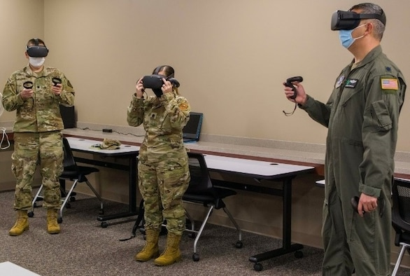 Students at Air University's Air War College use virtual reality to travel to South America at Maxwell Air Force Base, Alabama, Mar. 29, 2021. The Regional Security Studies course trips enable senior leaders to become familiar with the political, military, economic, cultural and security issues within different regions around the world.