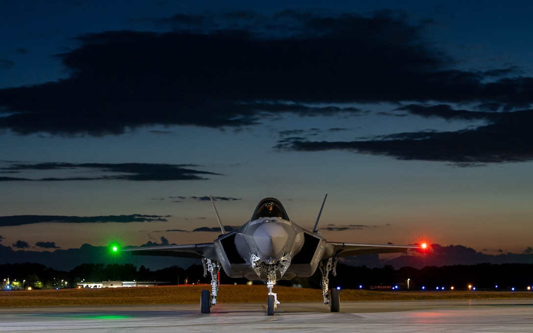 An F-35A Lightning II pilot assigned to the 134th Fighter Squadron, Vermont Air National Guard, prepares for launch during routine flying operations