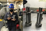 MR2 Katherine Chumbiray holds two vent plenum bolts, the one on the right is one she manufactured aboard USS Boxer (LHD 4).  MR2 Chumibray is enrolled in the NAMTS Inside Machine JQR and is working towards earning her Inside Machinist Navy Enlisted Classification (NEC).