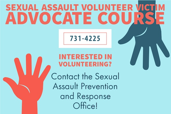 Poster with information on how to contact the SAPR office regarding the volunteer victim advocacy program.