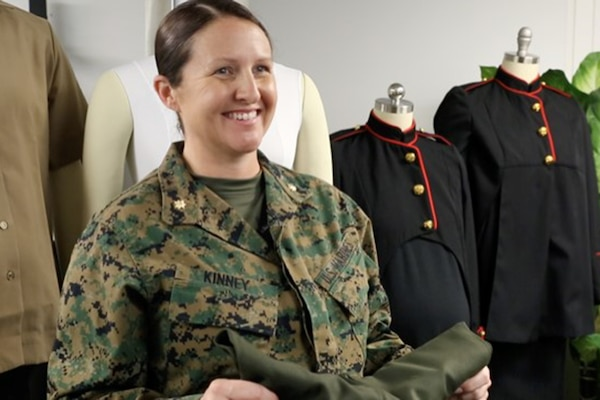 A U.S. Marine provides her assessment of the Marine Corps' modified maternity uniform items, March 4.
